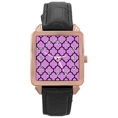 Tile1 Black Marble & Purple Colored Pencil Rose Gold Leather Watch  by trendistuff