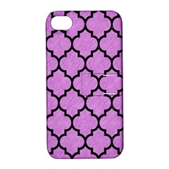 Tile1 Black Marble & Purple Colored Pencil Apple Iphone 4/4s Hardshell Case With Stand by trendistuff