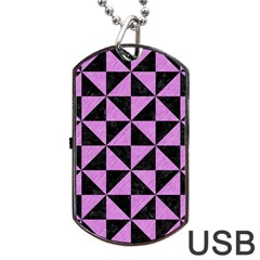 Triangle1 Black Marble & Purple Colored Pencil Dog Tag Usb Flash (one Side) by trendistuff