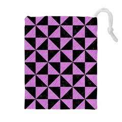 Triangle1 Black Marble & Purple Colored Pencil Drawstring Pouches (extra Large) by trendistuff