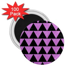 Triangle2 Black Marble & Purple Colored Pencil 2 25  Magnets (100 Pack)  by trendistuff