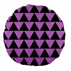Triangle2 Black Marble & Purple Colored Pencil Large 18  Premium Flano Round Cushions by trendistuff