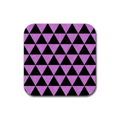 Triangle3 Black Marble & Purple Colored Pencil Rubber Square Coaster (4 Pack)  by trendistuff