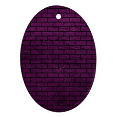 Brick1 Black Marble & Purple Leather Oval Ornament (two Sides) by trendistuff