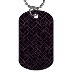 Brick2 Black Marble & Purple Leather (r) Dog Tag (two Sides) by trendistuff