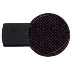 Brick2 Black Marble & Purple Leather (r) Usb Flash Drive Round (2 Gb) by trendistuff