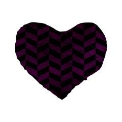 Chevron1 Black Marble & Purple Leather Standard 16  Premium Flano Heart Shape Cushions by trendistuff