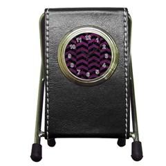 Chevron2 Black Marble & Purple Leather Pen Holder Desk Clocks by trendistuff