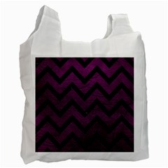 Chevron9 Black Marble & Purple Leather Recycle Bag (two Side)  by trendistuff