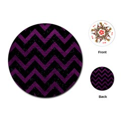Chevron9 Black Marble & Purple Leather (r) Playing Cards (round)  by trendistuff