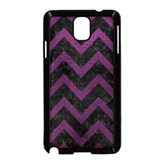 Chevron9 Black Marble & Purple Leather (r) Samsung Galaxy Note 3 Neo Hardshell Case (black) by trendistuff