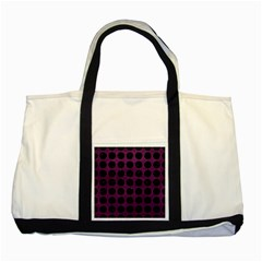 Circles1 Black Marble & Purple Leather Two Tone Tote Bag by trendistuff