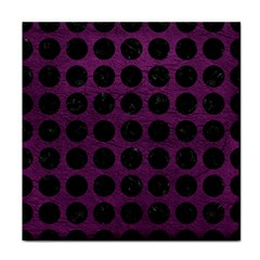 Circles1 Black Marble & Purple Leather Face Towel by trendistuff