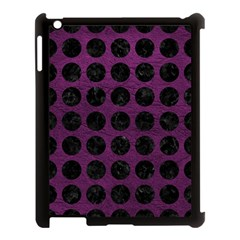 Circles1 Black Marble & Purple Leather Apple Ipad 3/4 Case (black) by trendistuff