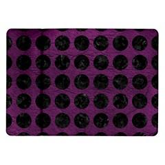 Circles1 Black Marble & Purple Leather Samsung Galaxy Tab 10 1  P7500 Flip Case by trendistuff