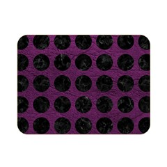 Circles1 Black Marble & Purple Leather Double Sided Flano Blanket (mini)  by trendistuff