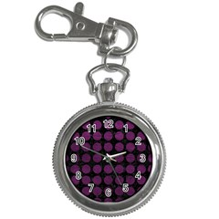 Circles1 Black Marble & Purple Leather (r) Key Chain Watches by trendistuff
