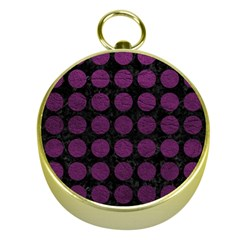Circles1 Black Marble & Purple Leather (r) Gold Compasses by trendistuff