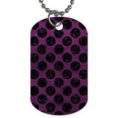 Circles2 Black Marble & Purple Leather Dog Tag (one Side) by trendistuff