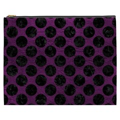 Circles2 Black Marble & Purple Leather Cosmetic Bag (xxxl)  by trendistuff