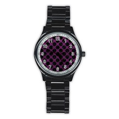 Circles2 Black Marble & Purple Leather Stainless Steel Round Watch by trendistuff