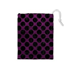 Circles2 Black Marble & Purple Leather Drawstring Pouches (medium)  by trendistuff