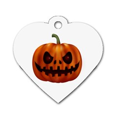 Halloween Pumpkin Dog Tag Heart (one Side) by Valentinaart