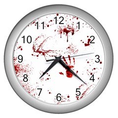 Massacre  Wall Clocks (silver)  by Valentinaart