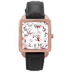 Massacre  Rose Gold Leather Watch  by Valentinaart