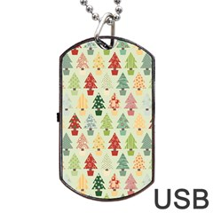 Christmas Tree Pattern Dog Tag Usb Flash (one Side) by Valentinaart