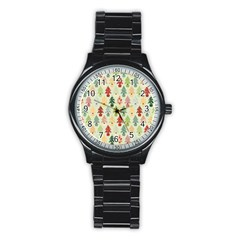 Christmas Tree Pattern Stainless Steel Round Watch by Valentinaart