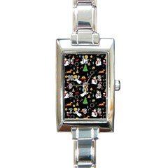 Christmas Pattern Rectangle Italian Charm Watch by Valentinaart