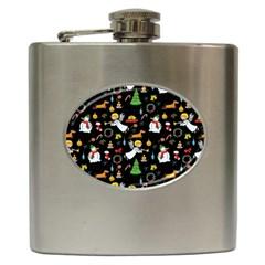 Christmas Pattern Hip Flask (6 Oz) by Valentinaart