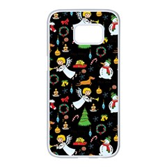Christmas Pattern Samsung Galaxy S7 Edge White Seamless Case by Valentinaart