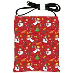 Christmas Pattern Shoulder Sling Bags by Valentinaart