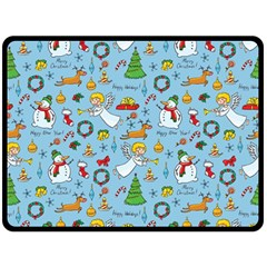 Christmas Pattern Double Sided Fleece Blanket (large)  by Valentinaart