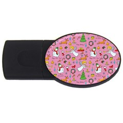 Christmas Pattern Usb Flash Drive Oval (4 Gb) by Valentinaart