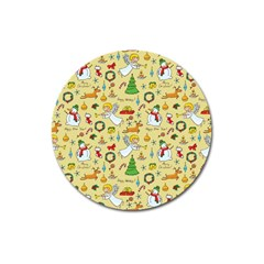 Christmas Pattern Magnet 3  (round) by Valentinaart