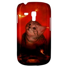 Cute Little Kitten, Red Background Galaxy S3 Mini by FantasyWorld7