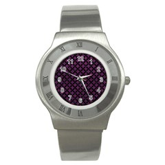 Circles3 Black Marble & Purple Leather Stainless Steel Watch by trendistuff