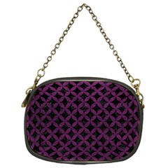 Circles3 Black Marble & Purple Leather (r) Chain Purses (two Sides)  by trendistuff