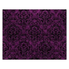 Damask1 Black Marble & Purple Leather Rectangular Jigsaw Puzzl by trendistuff