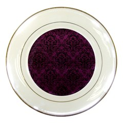 Damask1 Black Marble & Purple Leather Porcelain Plates by trendistuff