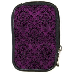 Damask1 Black Marble & Purple Leather Compact Camera Cases by trendistuff