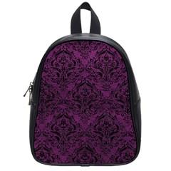 Damask1 Black Marble & Purple Leather School Bag (small) by trendistuff