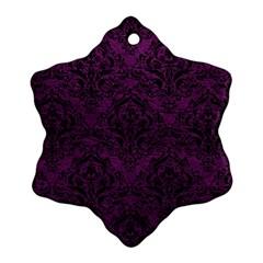 Damask1 Black Marble & Purple Leather Ornament (snowflake) by trendistuff