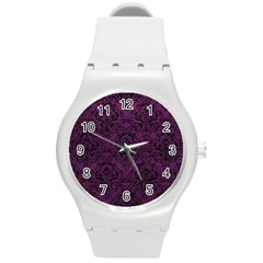 Damask1 Black Marble & Purple Leather Round Plastic Sport Watch (m) by trendistuff