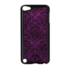 Damask1 Black Marble & Purple Leather Apple Ipod Touch 5 Case (black) by trendistuff
