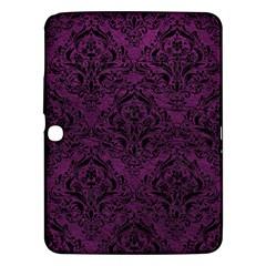 Damask1 Black Marble & Purple Leather Samsung Galaxy Tab 3 (10 1 ) P5200 Hardshell Case  by trendistuff