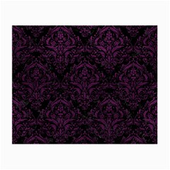Damask1 Black Marble & Purple Leather (r) Small Glasses Cloth by trendistuff